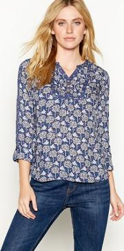 Navy Dove Print Long Sleeve Blouse