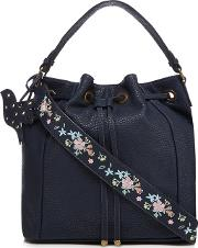 Navy Embroidered Strap Drawstring Duffle Bag