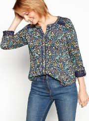 Navy Floral Animal Print Cotton V Neck Shirt