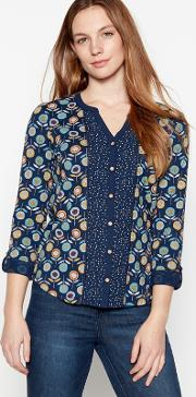 bd75d690c8f22 Navy Floral Lollipop Print Cotton Top. mantaray