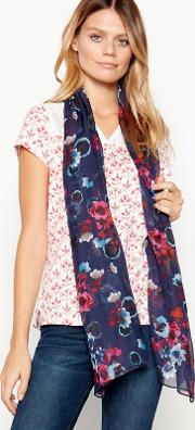 Navy Foral Print watercolour Scarf