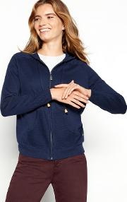 Navy Knitted Zip Through Hooded Cardigan