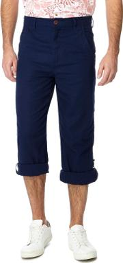 Navy Linen Blend Regular Fit Trousers