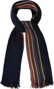 Navy Side Striped Scarf