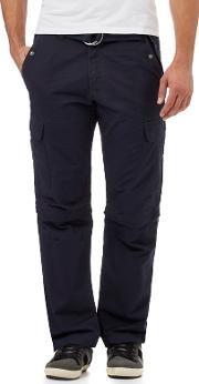 Navy Zip Off Legs Belted Cargo Trousers