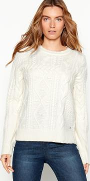 Off White Patchwork Cable Knit Jumper