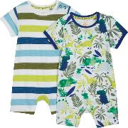 Pack Of Two Babies Multi Coloured Printed Romper Suits