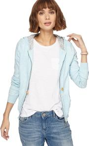 Pale Blue Knitted Hooded Cardigan