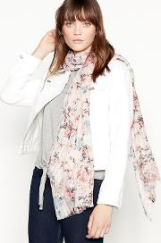 Pale Pink Butterfly Floral Print Scarf
