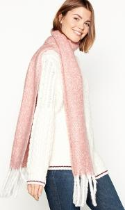 Pink Brushed Woven Scarf