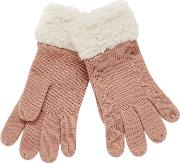 Pink Cable Knit Borg Gloves
