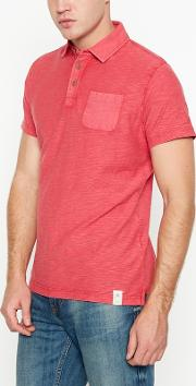 Red Vintage Wash Cotton Polo Shirt