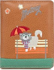 Tan Cat In Rain Embroidered Card Holder