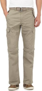 Taupe Zip Off Legs Belted Cargo Trousers
