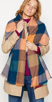 Turquoise Oversize Woven Check Scarf