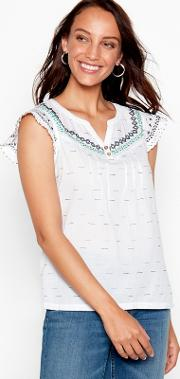 White Embroidered Lace Cotton V Neck Short Sleeve Blouse