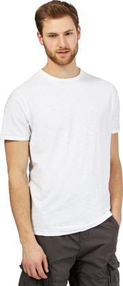 White Textured Crew Neck T Shirt