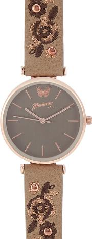 Womens Brown Floral Embroidered Analogue Watch