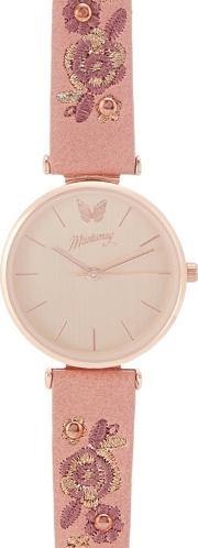Womens Pink Floral Embroidered Analogue Watch