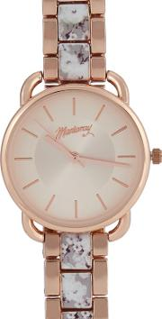 Womens Rose Gold Floral Analogue Watch
