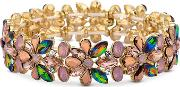 Mw By  Gold Plated Multi Coloured Glass Floral Stretch Bracelet