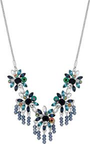 Mw By  Silver Plated Blue Glass Floral Allway Necklace