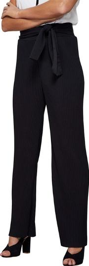 Black High Waisted Plisse Trousers