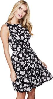Black Peony Print myra Dress