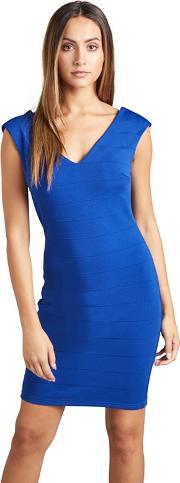 Blue Ribbed Panel chanee Bodycon Dress