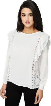 Cream Ruffle And Lace Detail Blouse