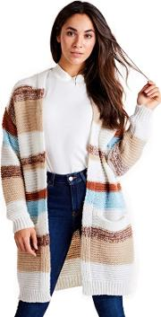 Cream Striped Knitted Cardigan