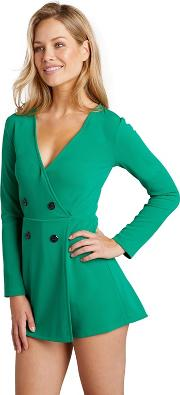 Green Double Breasted Blazer Playsuit