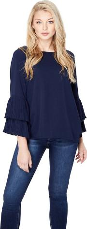 Navy Pleated Trumpet Sleeve Blouse