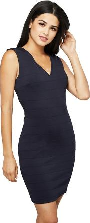 Navy Textured Stripe ainu Bodycon Dress