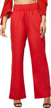 Red Elasticated Waist Trousers