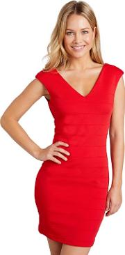 Red Ribbed Panel chanea Bodycon Dress