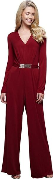 Red Wide Legged Belted Jumpsuit