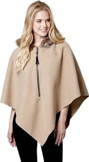 Tan Faux Fur Trim Poncho
