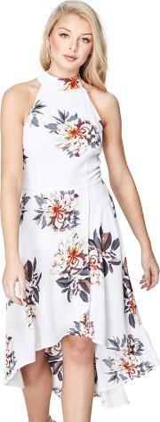White Floral Print peace High Low Skater Dress