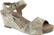 Grey Warm Boa Beauty Ladies Wedge Sandal