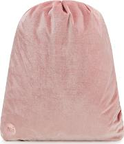 Pink Velvet Drawstring Backpack