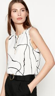 White Abstract Stripe Print Chiffon gytte Sleeveless Blouse
