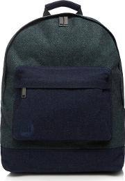 Mi Pac Dark Green Herringbone Textured Wool Blend Backpack