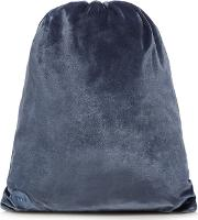 Mi Pac Petrol Blue Velvet Drawstring Back Pack