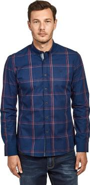 Blue Cotton Large Check Long Sleeve Shirt