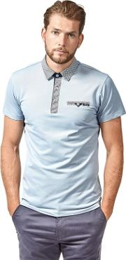 Blue Oxford Jersey Short Sleeve Polo Shirt