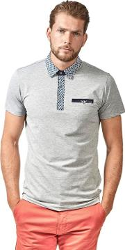 Grey Oxford Jersey Short Sleeve Polo Shirt