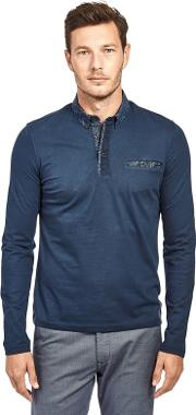 Navy Cotton Long Sleeve Polo Shirt With Pocket