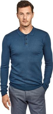 Navy Soft Touch Long Sleeve Knitted Polo Shirt