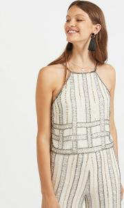 90s Embellished Striped Camisole Top